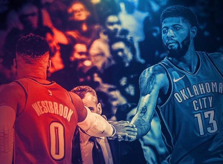 Russell Westbrook and Paul George shake hands