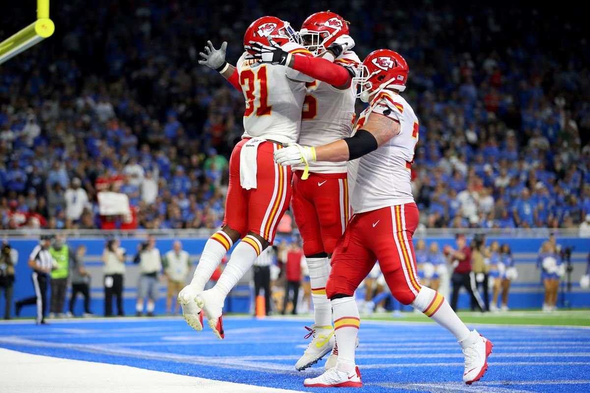 Chiefs celebrate touchdown during victory on sunday
