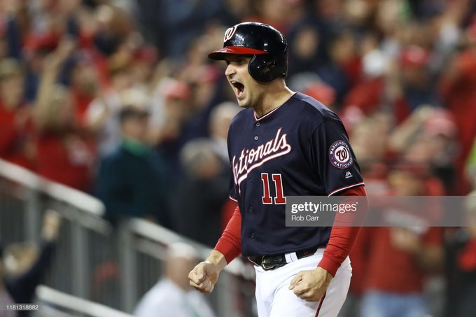 League Championship Series - St Louis Cardinals v Washington Nationals - Game Four  WASHINGTON, DC - OCTOBER 15: Ryan Zimmerman #11 of the Washington Nationals celebrates in the first inning against the St. Louis Cardinals during game four of the National League Championship Series at Nationals Park on October 15, 2019 in Washington, DC. (Photo by Rob Carr/Getty Images)