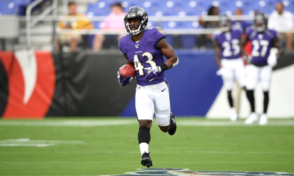 Justice Hill Baltimore Ravens running back. Pittsburgh Steelers.