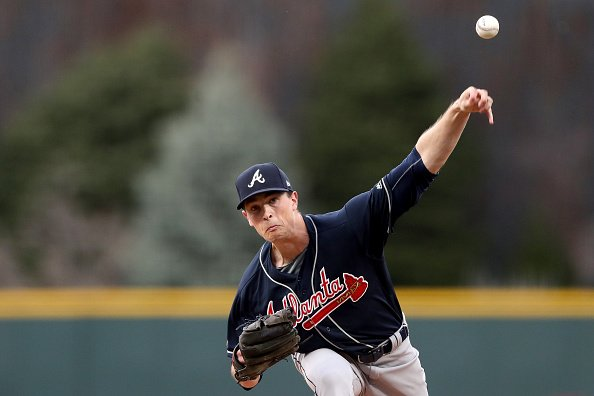 Pitcher Max Fried throws a pitch during an Atlanta Braves game