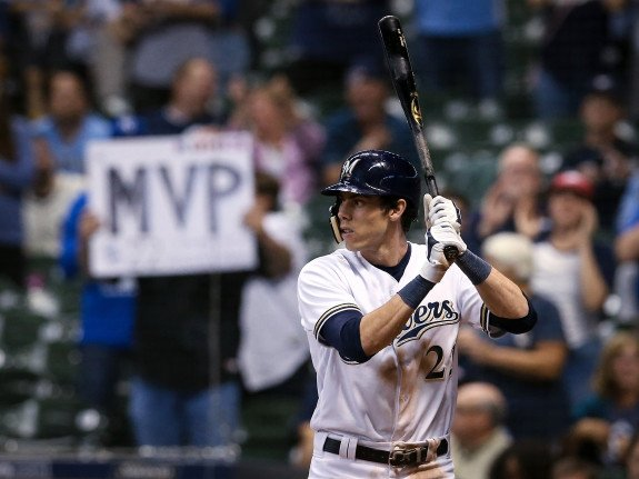 OF Christian Yelich at-bat during an important Milwaukee Brewers game
