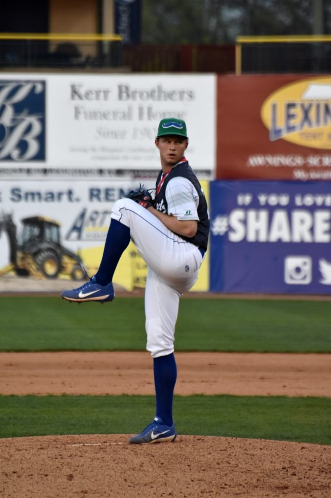 Gavin pitching in a game in 2019.