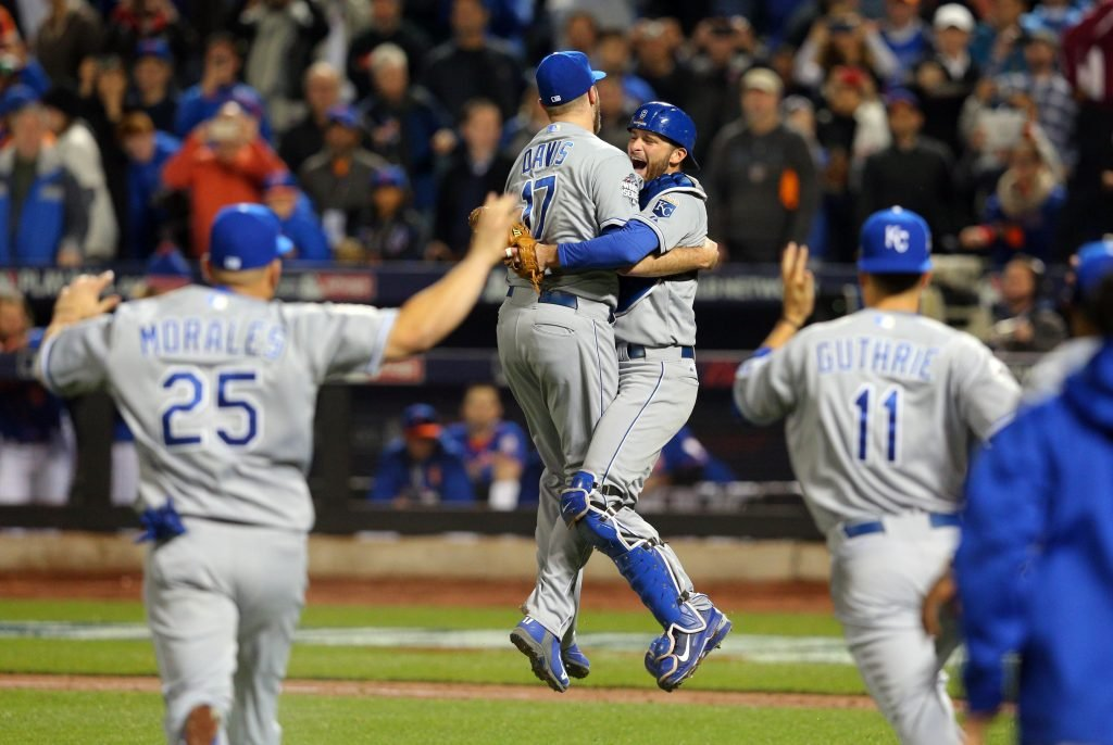Royals celebrate after winning the World Series.