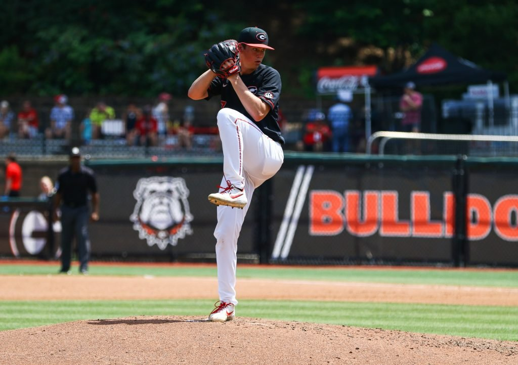 Hancock pitching for Georgia in 2019.