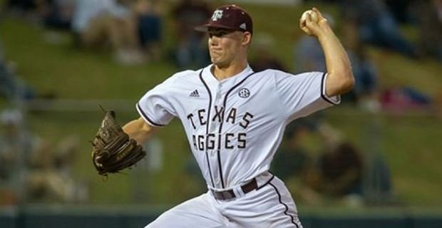 Lacy pitching at Texas A&M.