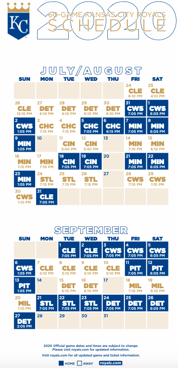 Kansas City Royals 2020 Schedule.