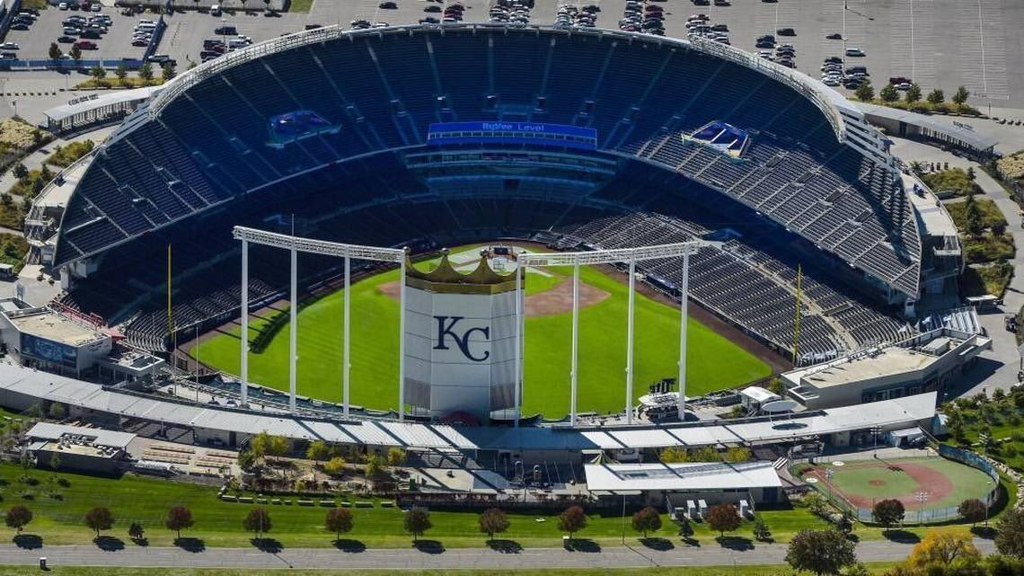 Kauffman Stadium from above.