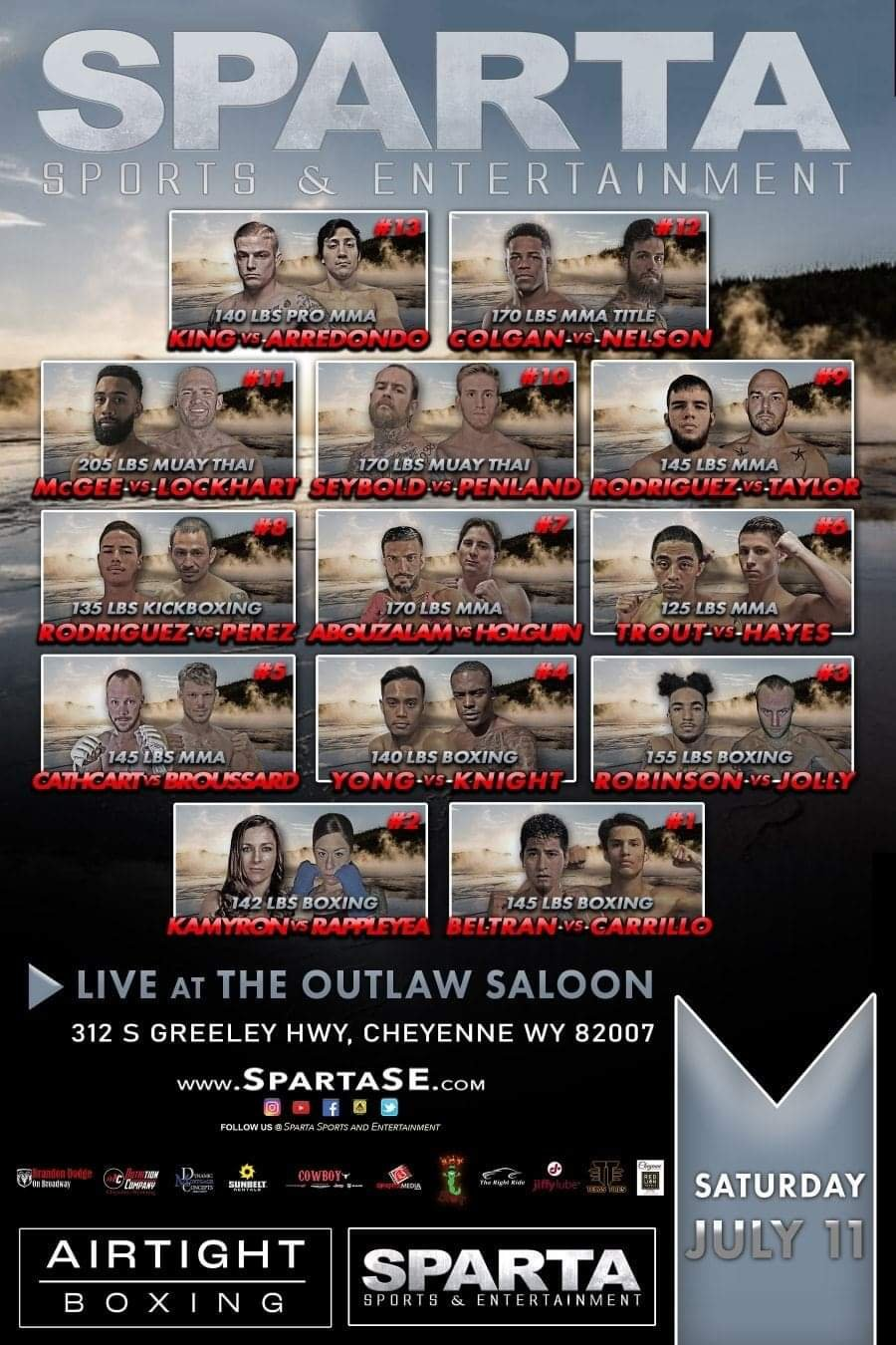 Sparta Sports and Entertainment July 11 Fight Poster