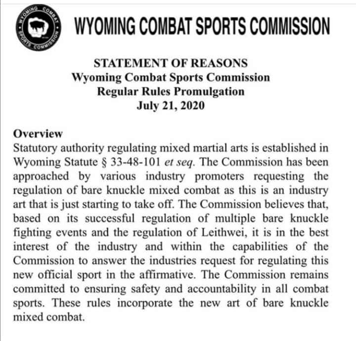 Bare knuckle MMA approval by Wyoming Combat Sports Commission.