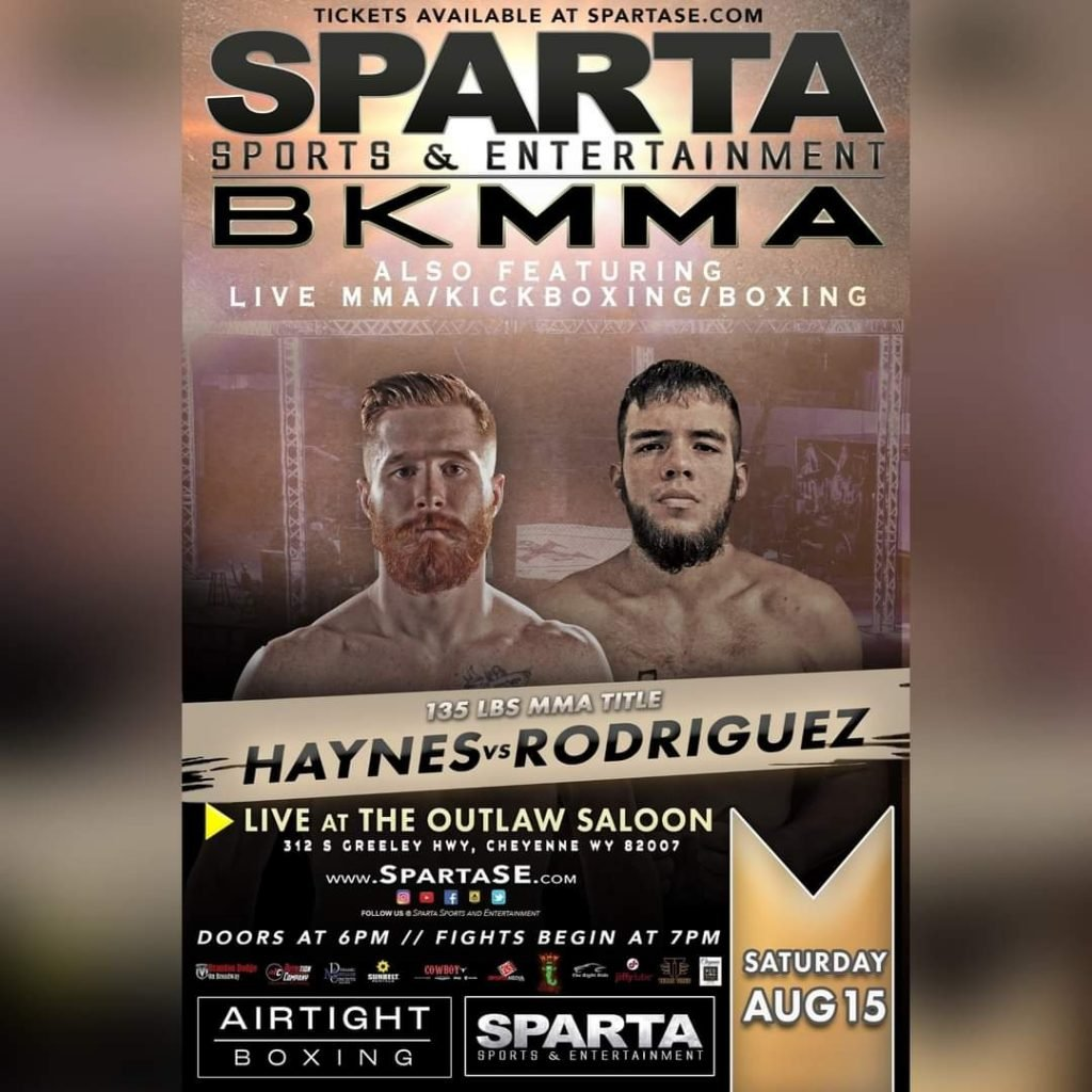 Zac Haynes vs Mario Rodriguez fight poster for Sparta BKMMA event. Courtesy of Sparta Sports and Entertainment.