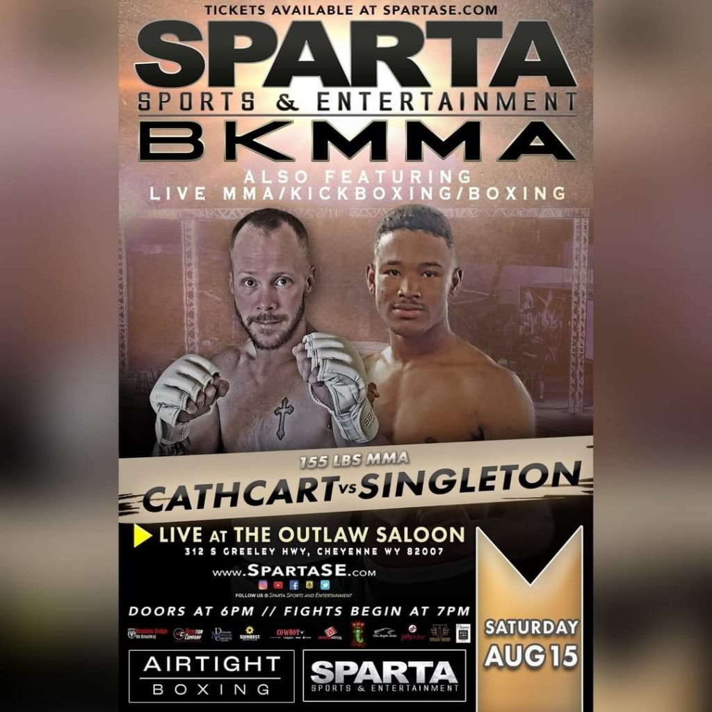 JD Cathcart vs Namir Singleton fight poster. Courtesy of Sparta Sports and Entertainment.