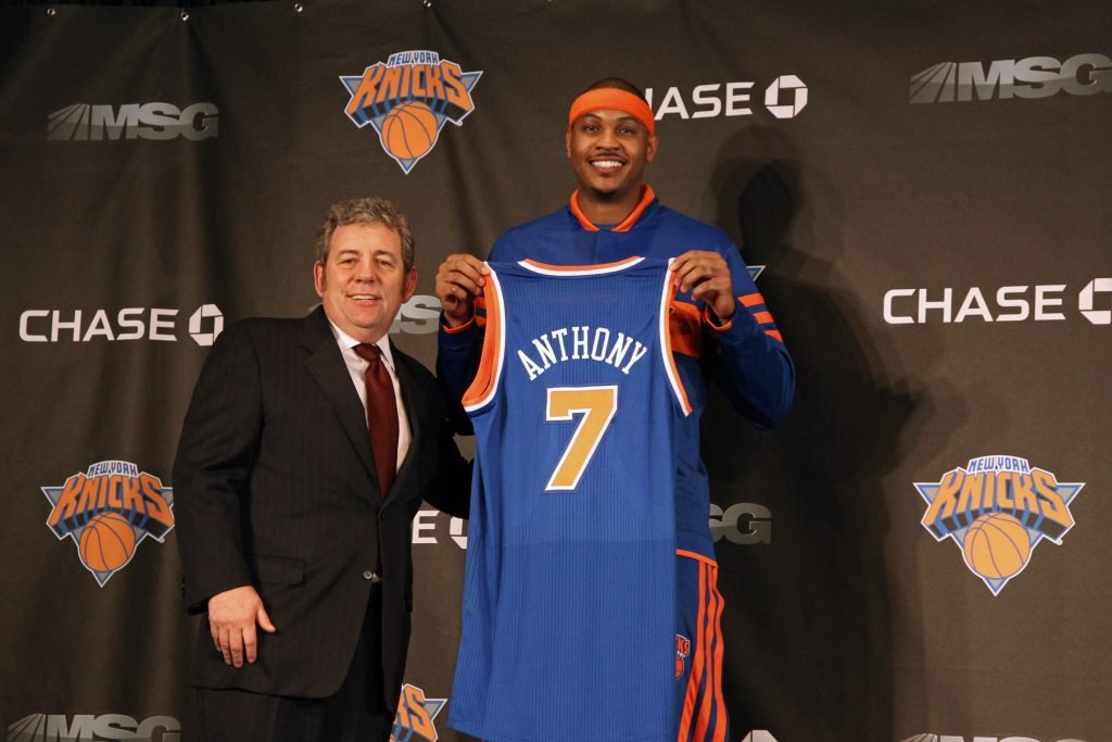 hi res 109383261 executive chairman james l dolan and carmelo anthony of crop north