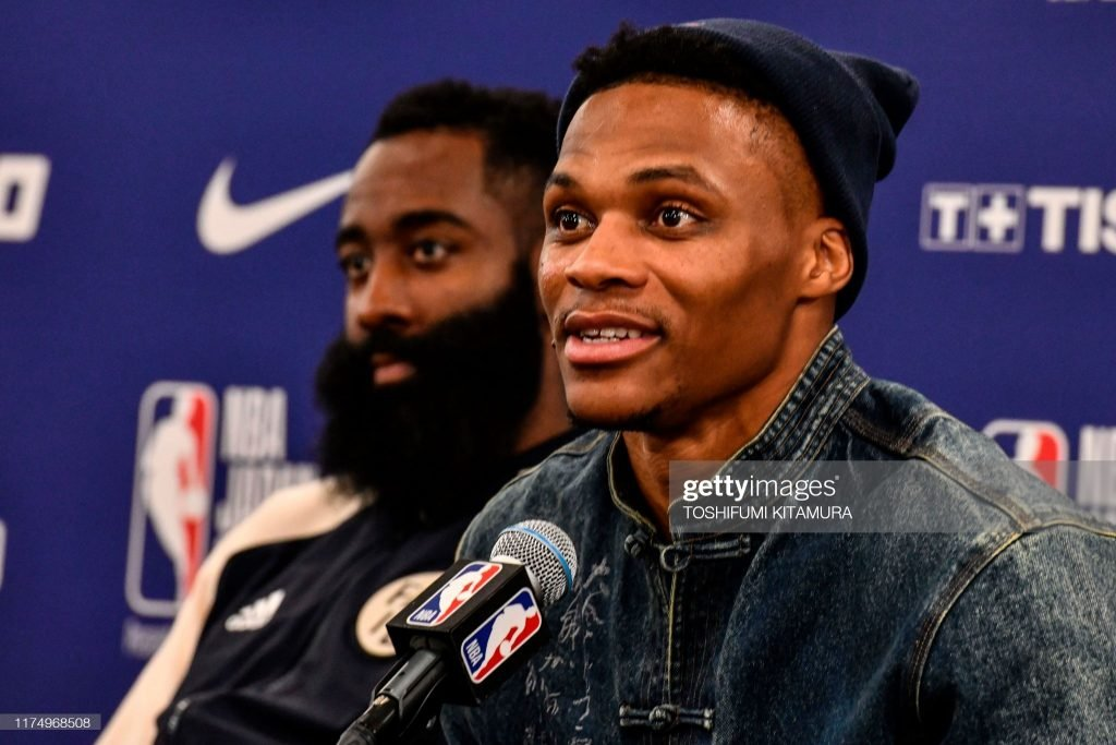 Should the Miami Heat pursue Harden? Harden and Russell Westbrook at a press conference.