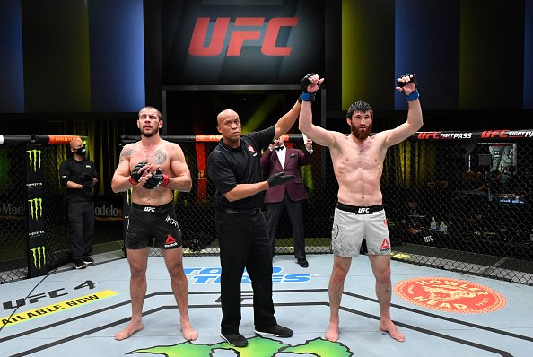 Magomed Ankalaev getting his hand raised in the octagon. Matchmaking for UFC Vegas 20 Main Card winners