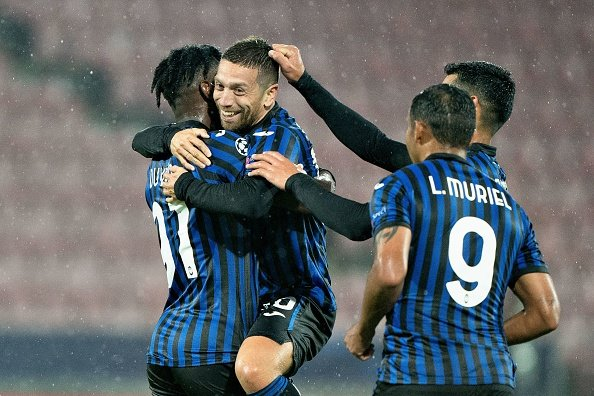 Malinovskyi filled the void left by the legendary Alejandro Gomez, who is pictured celebrating with Atalanta team mates.