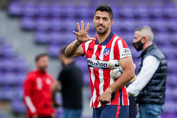 Luis Suarez celebrates his 5th League Title in sevens seasons; this one coming with Atletico Madrid and their LaLiga win.