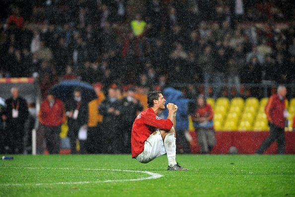 Cristiano Ronaldo of Manchester United celebrates their goal in the Champions League final vs Chelsea.