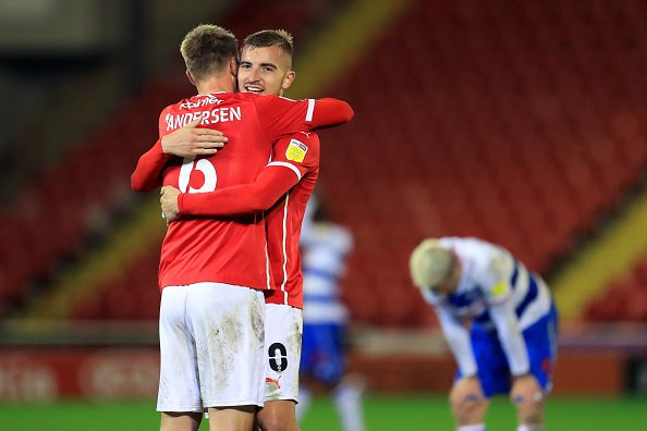 Mads Andersen and Michal Helik celebrate victory in the Championship match between Barnsley and Queens Park Rangers.