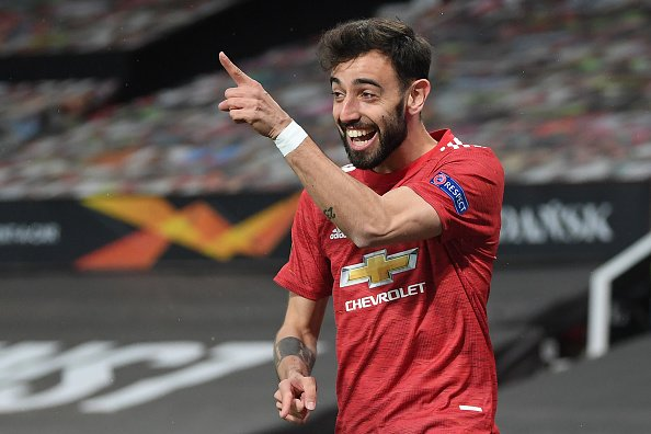Bruno Fernandes celebrates after scoring in the UEFA Europa League Semi-final against AS Roma. He will likely be a key component of the Portugal squad for the upcoming Euro 2020 competition.