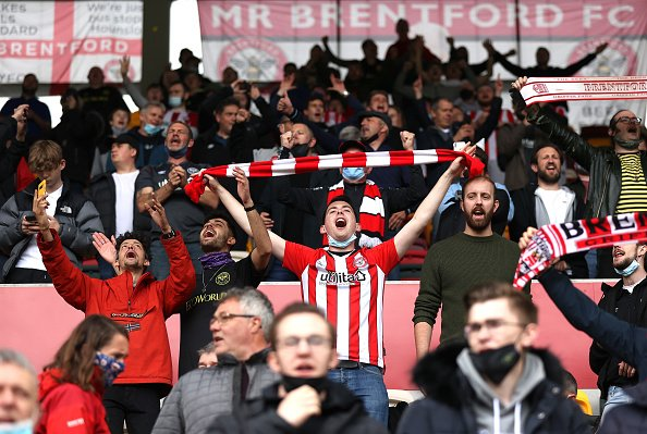 Brentford fans show their support during the Sky Bet Championship Play-off Semi Final against AFC Bournemouth.