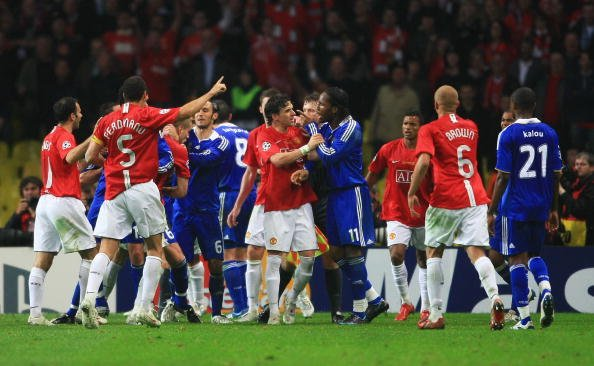 Didier Drogba getting into an altercation with the opposition in the Champions League Final between Manchester United and Chelsea.