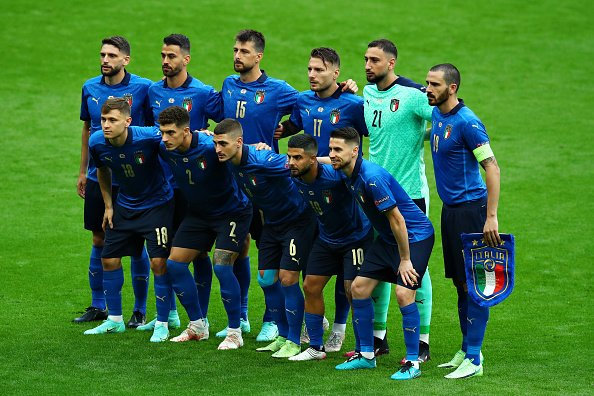 Italy team lining up in their match vs Austria.