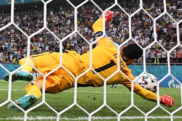 Lloris saves a penalty in the Euro 2020 game between Switzerland and France.