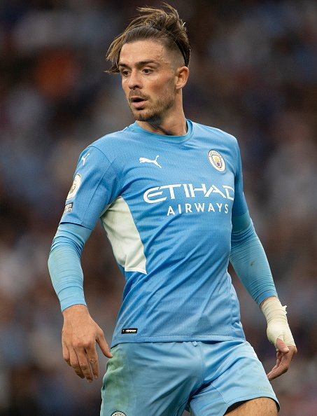 Jack Grealish playing for Premier League club Manchester City after his transfer from Aston Villa over the summer.